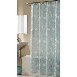 Savannah Blue Fabric Shower Curtain with Hooks
