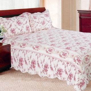 Shabby Chic Vintage Rose Cotton Quilt Set