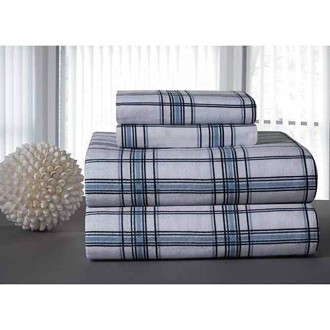 Blue Plaid Printed Flannel Sheet Set