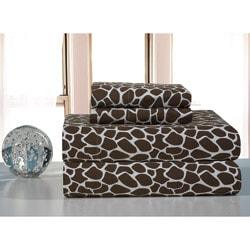 Chocolate Giraffe Flannel Sheet Set