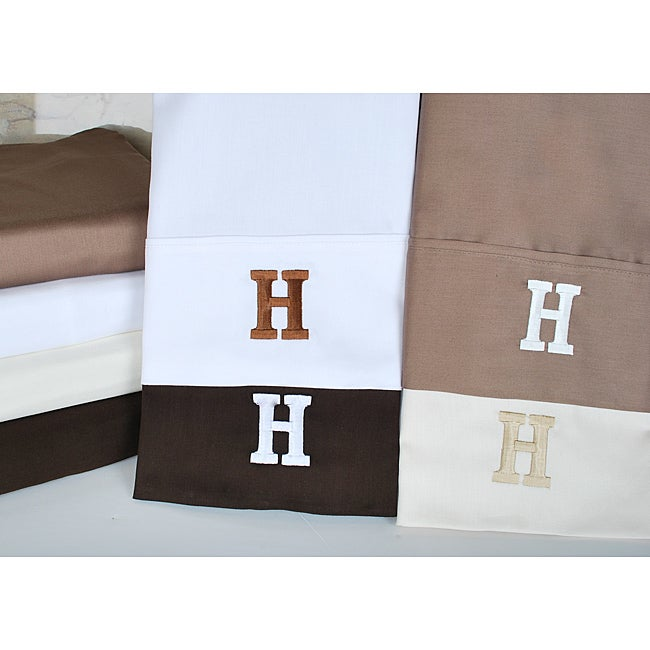 Egyptian Cotton 300 Thread Count Solid Block 'H' Monogram Sheet Set
