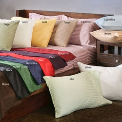 Egyptian Cotton Sateen 300 Thread Count Stripe Sheet Set