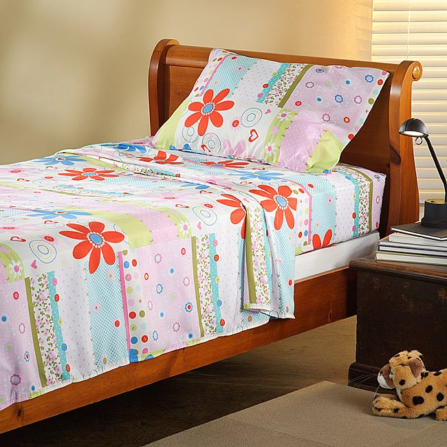 Expressions Microfiber Flower TwinXL Sheet Set