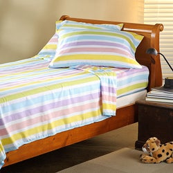 Expressions Microfiber Pastel Stripe Full Sheet Set