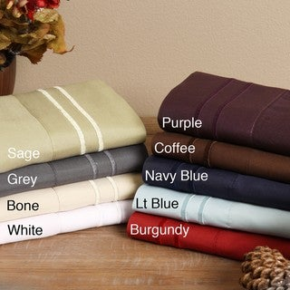 Fashion Street Microfiber Embroidered 4-piece Sheet Set