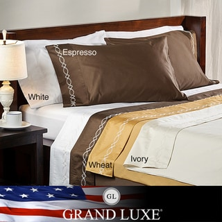 Grand Luxe Egyptian Cotton Sateen 800 Thread Count Chain Solid Deep Pocket Sheet Set and Pillowcase Separates