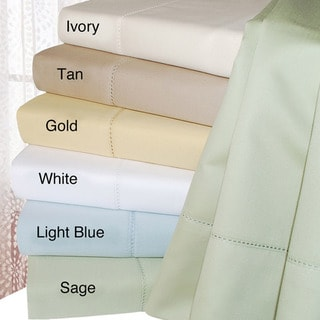 Simple Elegance Hemstitch 600 Thread Count Sateen Cotton King-size Sheet Set