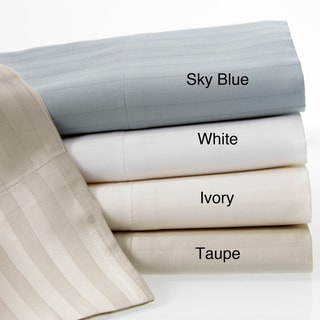 Luxury Cotton Sateen 360 Thread Count Dobby Stripe Sheet Set With Bonus Pillowcases