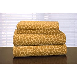Pointehaven Giraffe Print Flannel Sheet Set