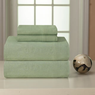 Pointehaven Sage Solid Heavyweight Flannel Sheet Set