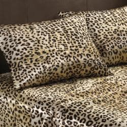 Premier Comfort Cheetah Polyester Textured Satin 6-piece Queen-size Sheet Set