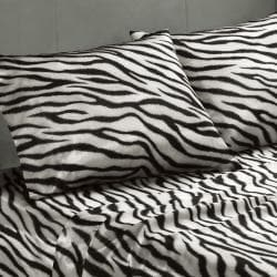 Premier Comfort Zebra Polyester Textured Satin 6-piece Full-size Sheet Set