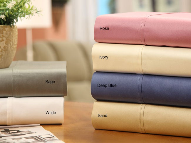 Sateen Solid Combed Cotton 400 Thread Count Sheet Set