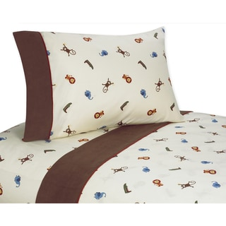 Sweet JoJo Designs 200 Thread Count Jungle Time Bedding Collection Cotton Sheet Set