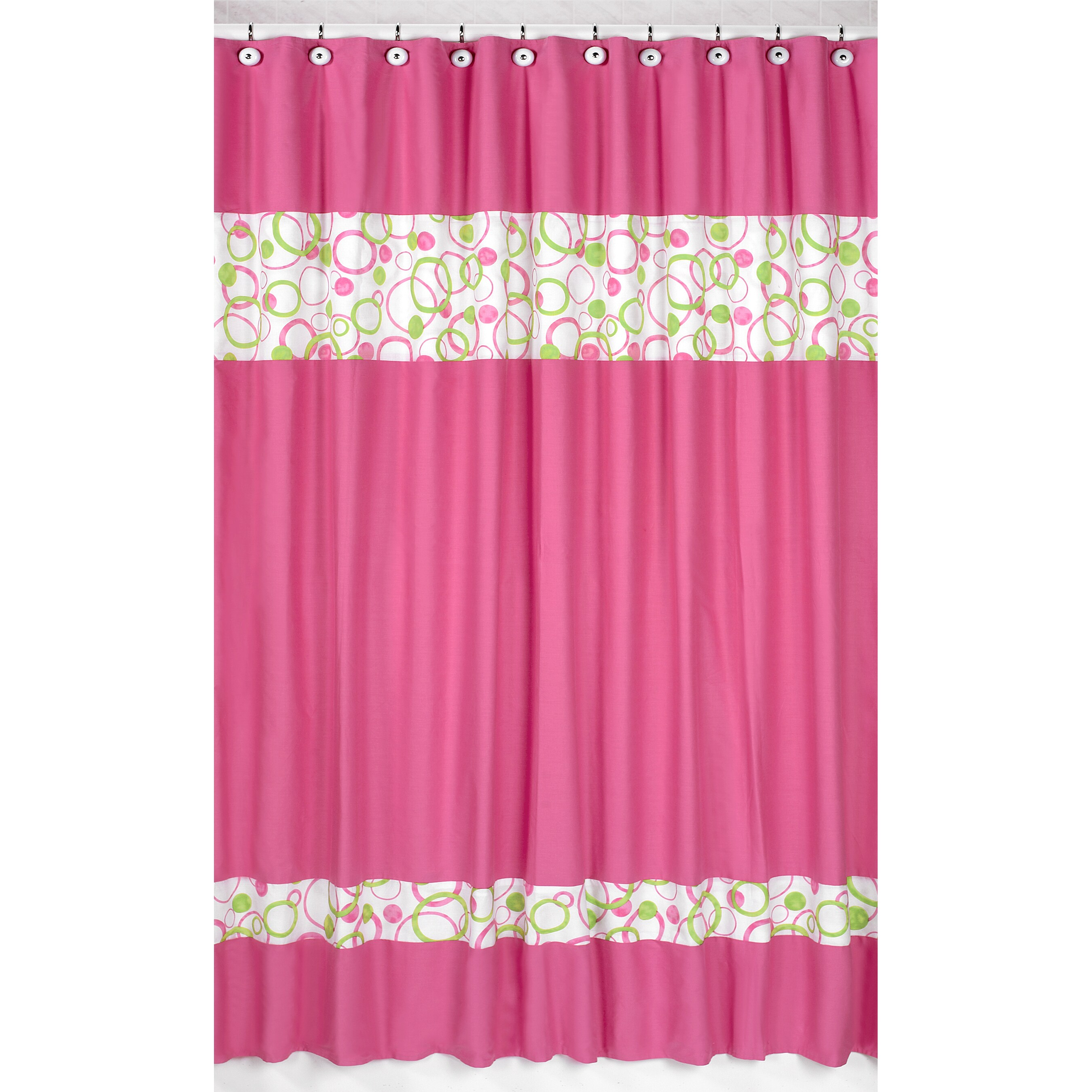 sweet jojo designs circles pink and green shower curtain overstock shopping great deals on. Black Bedroom Furniture Sets. Home Design Ideas