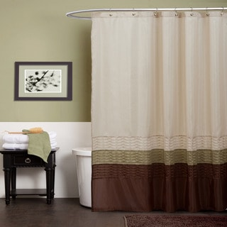 Lush decor mia green brown shower curtain overstock for Bathroom decor green and brown