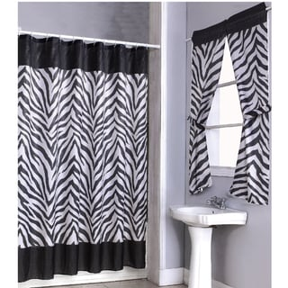 Zebra Print Shower Curtain Set and 4-piece Window Set | Overstock ...