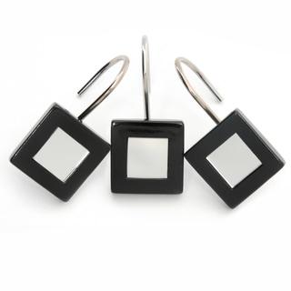 Set of 12 Waverly Mirror and Onyx Frame Shower Curtain Hooks