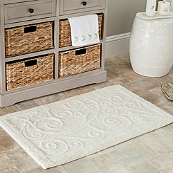 Safavieh Spa 2400 Gram Scrolls Natural 21 x 34 Bath Mat (Set of 2)