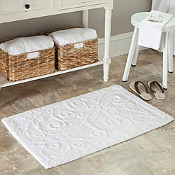 Spa 2400 Gram Scrolls White Gram 27 x 45 Bath Rug (Set of 2)