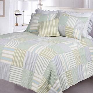 Spa Stripes King-size 3-piece Quilt Set
