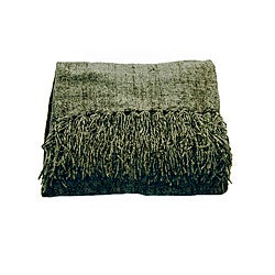 Susan Luxury Basil Chenille Throw with Fringe