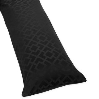 Sweet JoJo Designs Black Diamond Jacquard Modern Full Length Double Zippered Body Pillow Case Cover