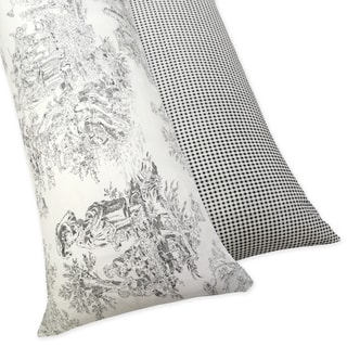 Sweet JoJo Designs Black French Toile Full Length 200 Thread Count Double Zippered Body Pillow Case Cover