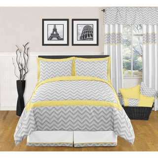 Sweet JoJo Designs Grey and Yellow Zig Zag 3-piece Full/ Queen Bedding Set