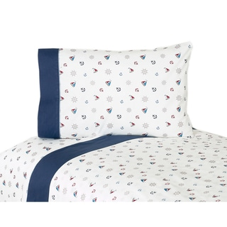Sweet JoJo Designs 200 Thread Count Nautical Nights Sailboat Bedding Collection Cotton Bed Sheet Set