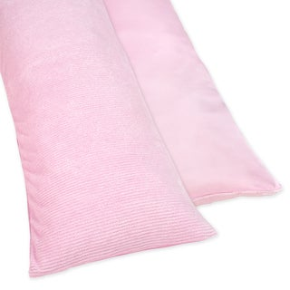 Sweet JoJo Designs Pink Chenille and Satin Full Length Double Zippered Body Pillow Case Cover