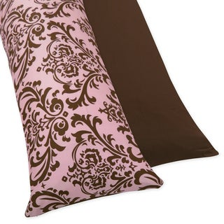 Sweet JoJo Designs Pink and Chocolate Nicole Full Length Double Zippered Body Pillow Case Cover