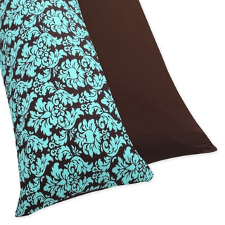 Sweet JoJo Designs Turquoise and Brown Bella Full Length Double Zippered Body Pillow Case Cover