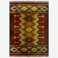 Hand-woven Kilim Burgundy Jute/ Wool Rug (5&#39; x 8&#39;)