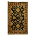 Hand-knotted Jaipur Kashan Black Wool Runner (2'6 x 12')