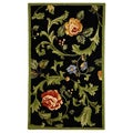 Hand-hooked Garden of Eden Black Wool Runner (2'6 x 4')