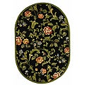 Hand-hooked Garden of Eden Black Wool Rug (4'6 x 6'5 Oval)