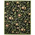 Hand-hooked Garden of Eden Black Wool Rug (8'9 x 11'9)