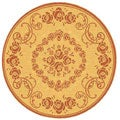 Indoor/ Outdoor Garden Natural/ Terracotta Rug (6'7 Round)