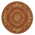 Indoor/ Outdoor Garden Terracotta/ Natural Rug (6'7 Round)