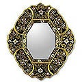 Handmade Deepest Midnight Framed Mirror (Peru)