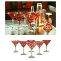 Set of 6 Crimson Swirl Memoirs Martini Glasses (Mexico)