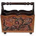 Leather and Mahogany Songbirds Magazine Rack (Peru)