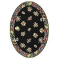 Hand-hooked Fruit Harvest Black Wool Rug (4'6 x 6'6 Oval)