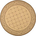 Indoor/ Outdoor Bay Natural/ Brown Rug (5'3 Round)