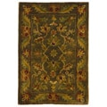 Handmade Antiquities Kerman Charcoal Green Wool Rug (2' x 3')