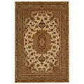 Handmade Treasures Ivory/ Green Wool and Silk Rug (2' x 3')