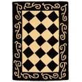 Hand-hooked Diamond Black/ Ivory Wool Rug (1'8 x 2'6)