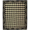 Hand-hooked Diamond Black/ Ivory Wool Rug (7&#39;9 x 9&#39;9)