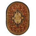 Handmade Classic Royal Red/ Black Wool Rug (4'6 x 6'6 Oval)